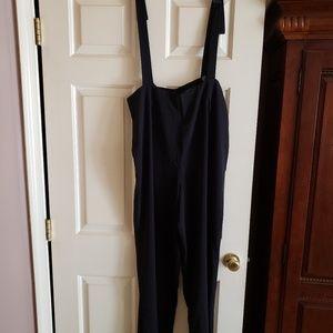 Plus Size Blk Suspender Palazzo Pants 1X